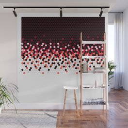 Flat Tech Camouflage Reverse Red Wall Mural