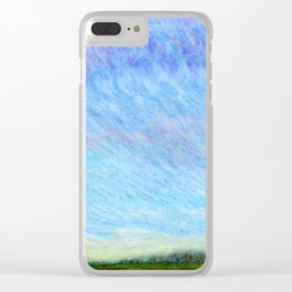 Pastel blue sky Clear iPhone Case