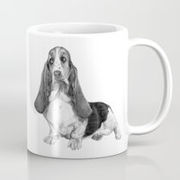 the hound Mugs featuring Basset Hound by Danguole Serstinskaja