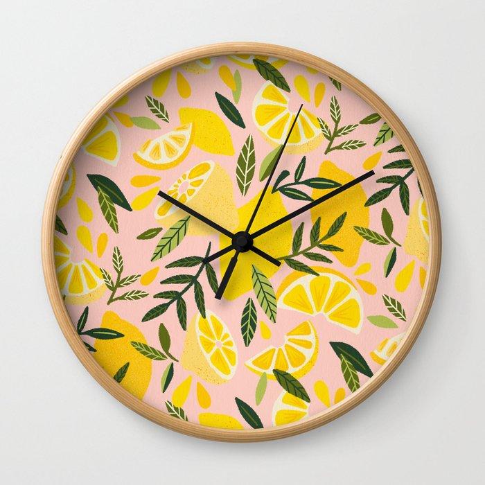 Lemon Blooms – Blush Palette Wall Clock
