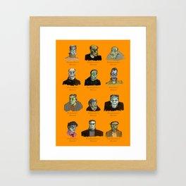 Field Guide to Man-Made Monsters (orange) Framed Art Print