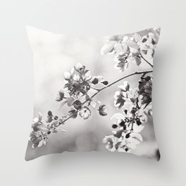 Black and White Floral Photography, Grey Neutral Nature Art, Light Gray Botanical Flower Photo Throw Pillow