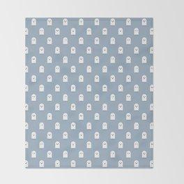 Cute Ghost Pattern - Blue Throw Blanket