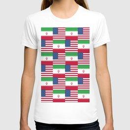 Mix of flag: Usa and Iran. T-shirt