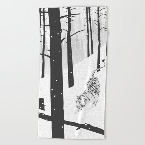 White tiger Beach Towel