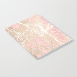 Modern coral pink white gold abstract marble Notebook