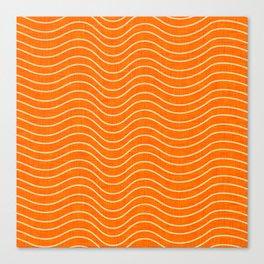 Surfing Waves Orange Canvas Print