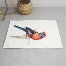 Crimson Rosella Parrot bird Rug