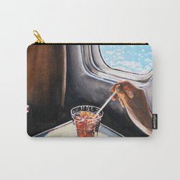Glass in Airplane Art Print Retro Mid Century Mad Men Painting William Eggleston Gift for him Father's Day Travel Poster Carry-All Pouch