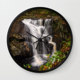 ENDERS FALLS AUTUMN PHOTO - CONNECTICUT FALL IMAGE - WATERFALL PICTURE - LANDSCAPE PHOTOGRAPHY Wall Clock
