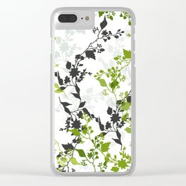 Branches and Leaves in Cobalt Grey and Green Clear iPhone Case