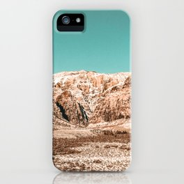 Mojave Red Rocks // Desert Landscape Cactus Mountain Range Teal Blue Skyline iPhone Case
