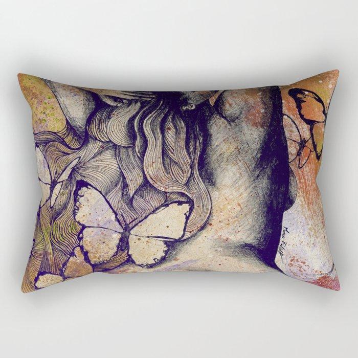 Sugar Coated Sour: Autumn (nude curvy pin up with butterflies) Rectangular Pillow