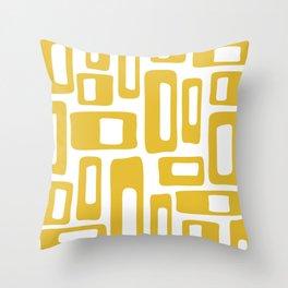 Retro Mid Century Modern Abstract Pattern 336 Mustard Yellow Throw Pillow