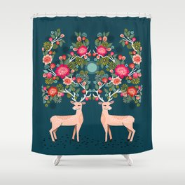 Deer with Flowers by Andrea Lauren  Shower Curtain