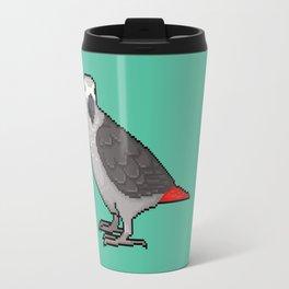 Pixel / 8-bit Parrot: Congo African Grey Travel Mug
