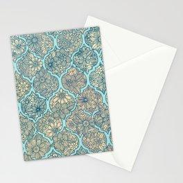 Moroccan Floral Lattice Arrangement - aqua / teal Stationery Cards