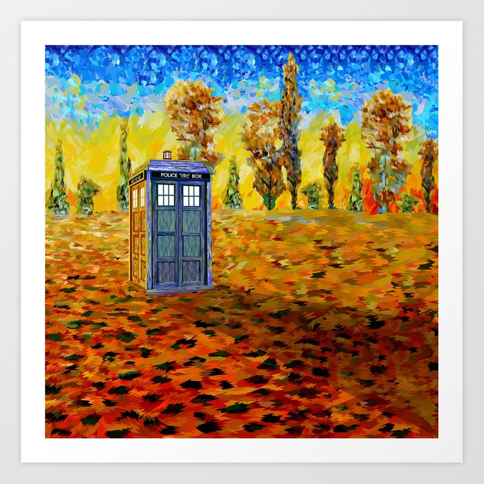 Blue phone Booth at Fall Grass Field Painting Art Print
