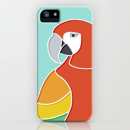 Rainbow Parrot on Mint iPhone Case