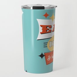 Retro Diner Art -Eat Drink & Be Merry- Mid-Centry Design 1950's 1960's Travel Mug