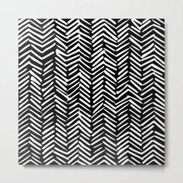 Boho, Herringbone, Geometric Art, Black and White Metal Print