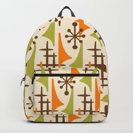 Retro Mid Century Modern Atomic Wing Pattern 426 Brown Orange and Olive Green Backpack