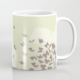 flying butterflies on a green landscape with sun Coffee Mug