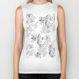 PEACOCK LILY TREE AND LEAF TOILE GRAY AND WHITE PATTERN Biker Tank
