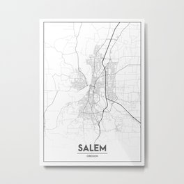 Minimal City Maps - Map Of Salem, Oregon, United States Metal Print