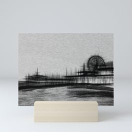 White Noise Santa Monica Pier Mini Art Print