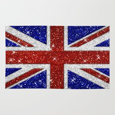 Glitters Shiny Sparkle Union Jack Flag Rug