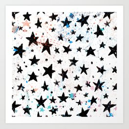 Hand painted black pink teal aqua watercolor galaxy stars Art Print