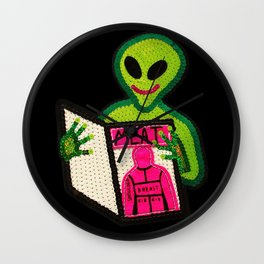 Hungry Bad Alien  Wall Clock