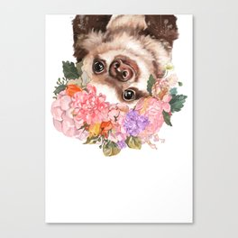 Baby Sloth with Flowers Crown in White Canvas Print