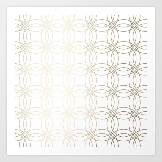 Simply Vintage Link in White Gold Sands on White Art Print