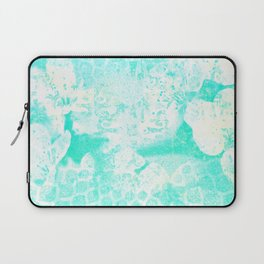 Aqua and White Floral Abstract Laptop Sleeve