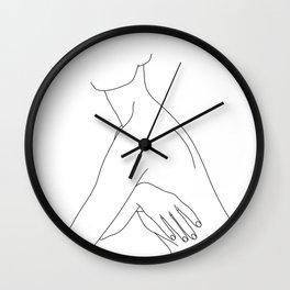 Nude figure line drawing illustration - Jada Wall Clock