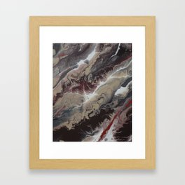 Neutral Black, Red and Brown Painting - Schism Abstract Framed Art Print