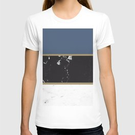 Marble Mix Stripes #3 #black #white #blue #gold #decor #art #society6 T-shirt