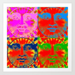 Four Faces of the sun ( psychedelic ) Art Print
