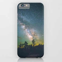 Night Sky Landscape Photography Stars Sky Milky Way Galaxy With Silhouette Trees Green Hues iPhone Case