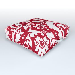 Paisley Damask Red and White Pattern Outdoor Floor Cushion