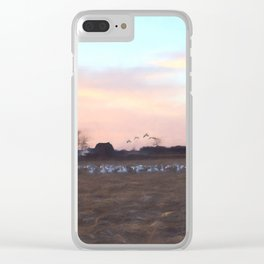 Geese On The Farm Clear iPhone Case