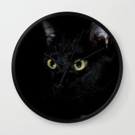 Black Cat Looking Away Photo Wall Clock