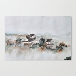 Japanese ancient city in fogging day Canvas Print
