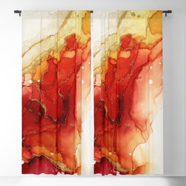 Golden Flames Abstract Ink - Part 2 Blackout Curtain