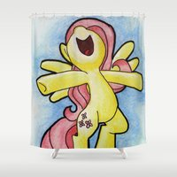 postcard Shower Curtains featuring Fluttershy - Pony Postcard Series by Cerulean Blues