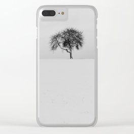 Black and White Minimal Nature Scene Clear iPhone Case