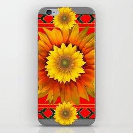 RED-GREY DECO YELLOW SUNFLOWERS MODERN ART iPhone Skin