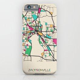 Colorful City Maps: Jacksonville, Florida iPhone Case